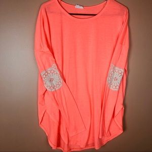 Boho Oversize Crochet Elbow Size M Bright Orange